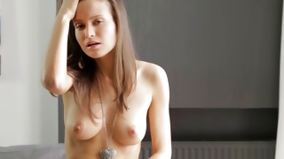 Skinny yummy beauty is fingering her perfect small cunt hole
