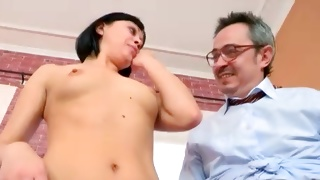 Horrible mature guy is hungered watching on a babe
