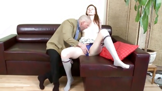 Sexy bitch is rubbing the breasts during muff diving