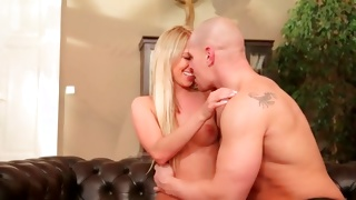 Bald headed naughty guy is sucking the vagina of a cute gal