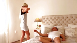 Horny blonde slut is taking the pants off the horrible man