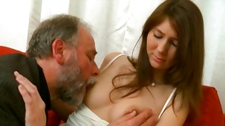 Corrupt naughty old guy is sucking the erect tasty bosoms