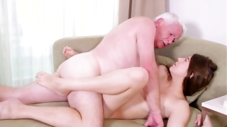The naughty depraved chick is horny fucked by a mature