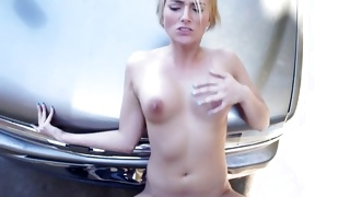 Blonde juicy wench is bending while licking the huge donger