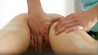 Horrible man is sexually massaging her ass cheeks