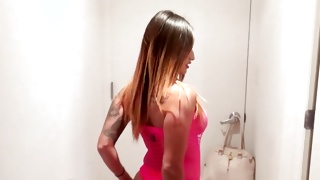 Long haired beauty with tattoos ready to fuck