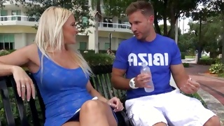 Passionate dude is grabbing this blonde babes boobs