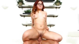 Geeky whore is blowing his dick right in the car rough