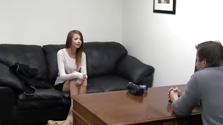 Kinky babe sitting on casting coach ready to fuck hard