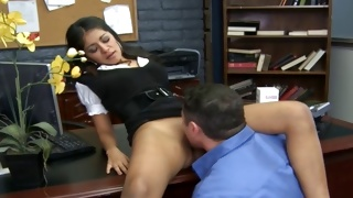 Yummy brunette chick is giving the perfect blowjob