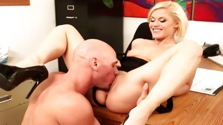 Lascivious blondie is observed by bald head guy