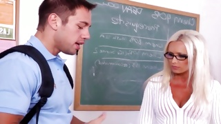 Perky dude came to his sexy teacher