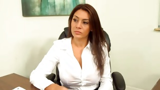 Marvelous cutie is posing bossy in the chair