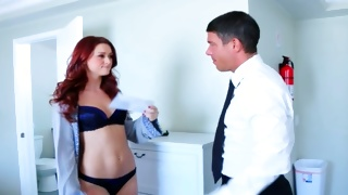 Sexy bitch in nice underwear is observed by a man
