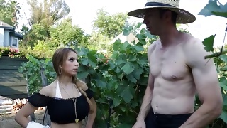 Half nude depraved guy talking to splendid young wench