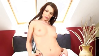 Brown-haired tattooed slut is demonstrating her amazing bendable breasts