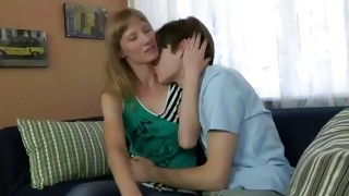 Elementary haired mouth-watering woman is getting her neck kissed by dude