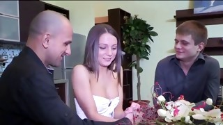 Racy bitch bent through the table getting her charged in muff eye