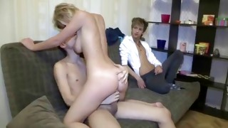 Natural blonde priceless cutie is about to get used by two guys hard